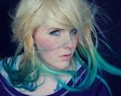 Aquatic Ombre Dip Dye Blonde Turquoise - Human Hair Extensions - Tie Dye / Clip Ins // Burning Man Hair