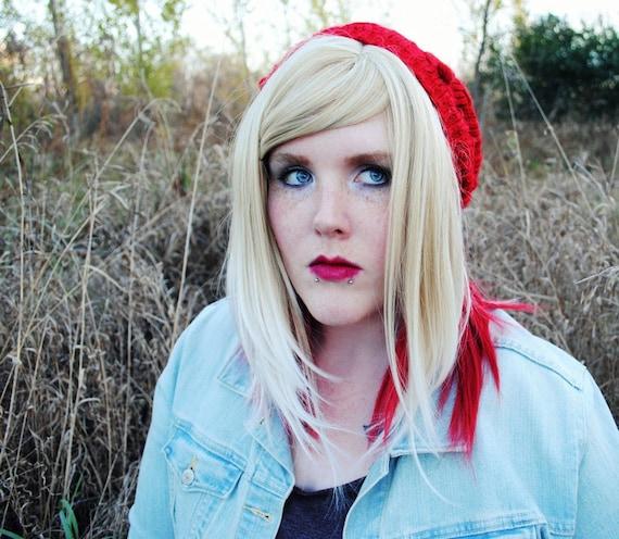 Twilight Meadow wig // Blonde Red Straight Medium Long Layered Wig