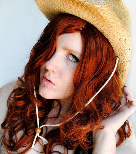 Southern Sweetheart wig // Auburn Red Wavy Long Hair -- Natural Cowgirl Belle Western Redhead