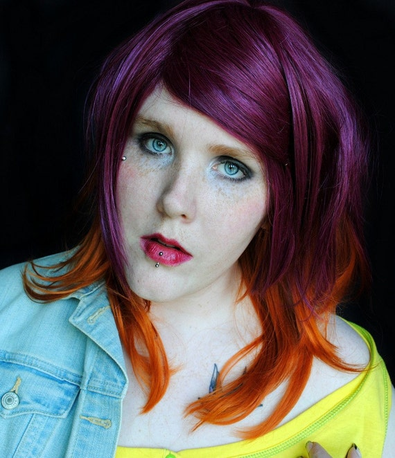 SUNNY BELLE wig // Purple Auburn Orange // Long Straight Wave Hair