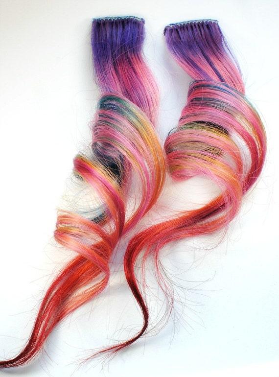 Shooting Star / Human Hair Extension / Purple Blue PInk Orange Green Red / Long Tie Dye Colored Hair