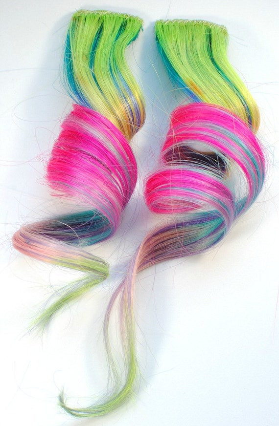 Neon Party / Human Hair Extension / Green Pink Blue Purple / Long Tie Dye Colored Hair