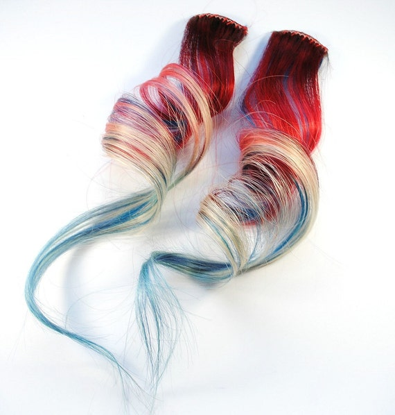 American Dream / Human Hair Extension / Red White Blue Blonde / Long Tie Dye Colored Hair