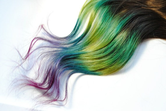 RESERVED Peacock - Human Hair Extensions - Dip Dyed Tips / Tie Dyed Clip Ins // Brown Blue Green Purple Pink / Rainbow Ombre