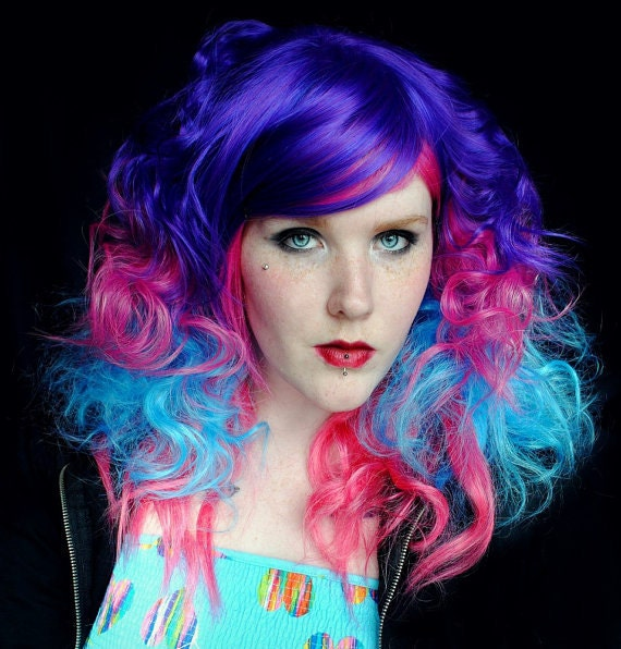 Chill / Human Hair Extension / Blue Purple Pink / Long Tie Dye Colored Hair