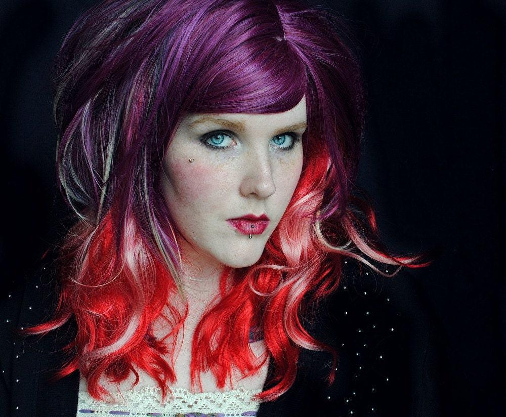 Pink And Purple Hair Styles: Fairy Flourish Wig // Purple Red Pink Blonde Black // Wavy