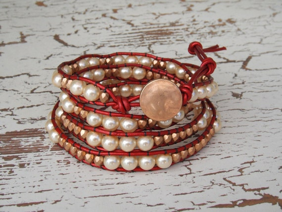 Leather Wrap Bracelet - Four Wrap Red Metallic with Pearls and Gold