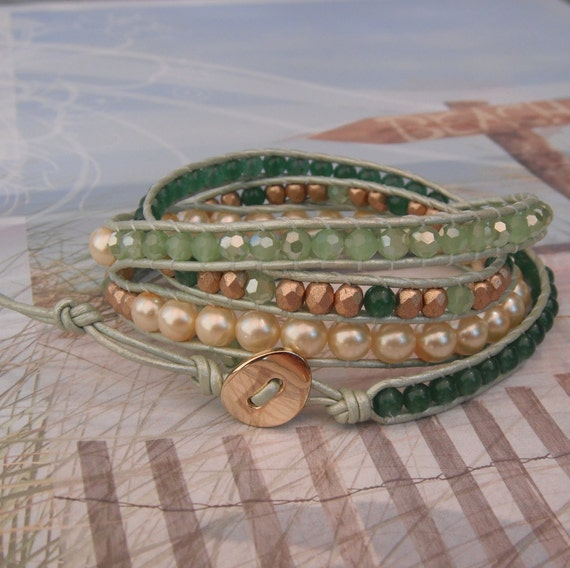 Mint Leather Wrap Bracelet - Four Wrap - Mint Crystals- Gold Beads - Chan Luu Style - Pearl Bracelet