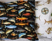 Cushion cover, fish, fishing, black, white, multi