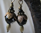 black and brass dangle earrings