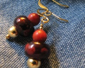 red and gold short dangle earrings