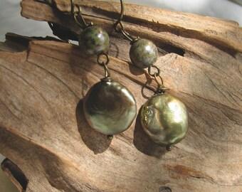 green pearl coin dangle earrings