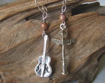 jazz fest guitar earrings
