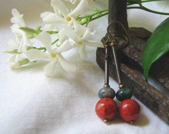 coral & jasper dangle earrings