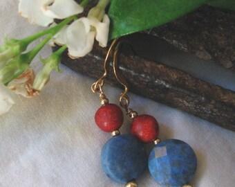 sponge coral dangle earrings