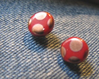 red and gold post earrings