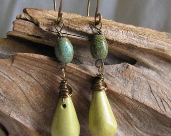 Jasper and turquoise earrings