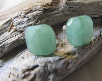 green aventurine post earrings