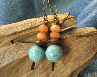 peach and turquoise stone earrings