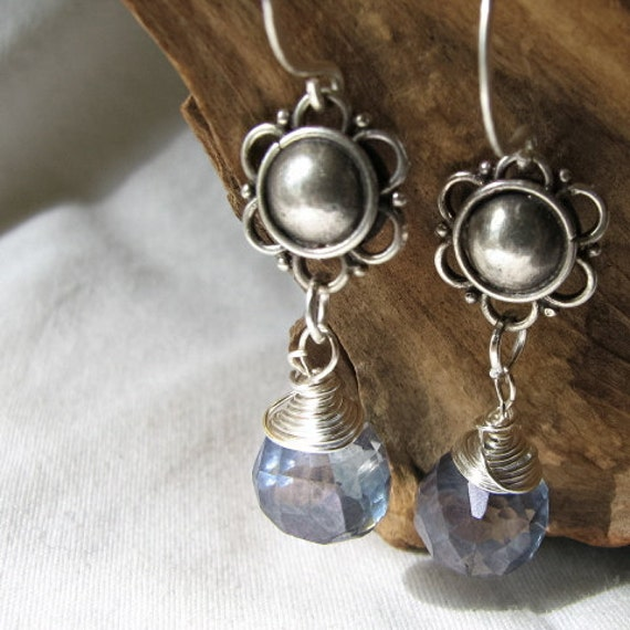 pale blue briolette earrings