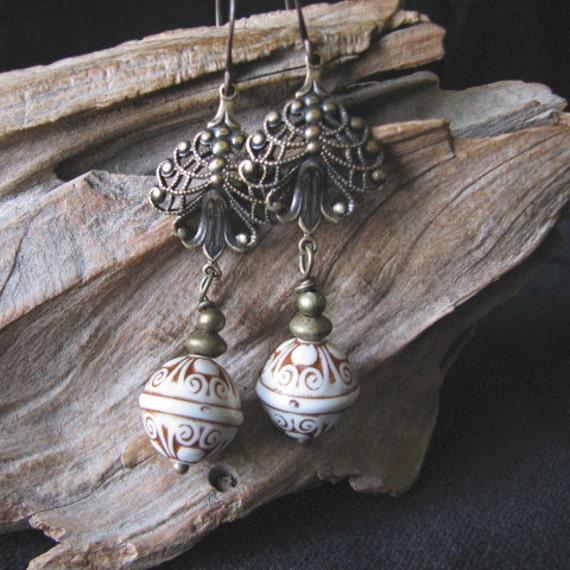 bohemian and  brass dangle earrings