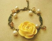 SALE- Sweet Yellow Rose Pearl and Swarovski Crystal Bracelet