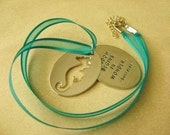 SALE- Teal Ribbon and Silver Seahorse Pendant- Quote Beach Jewelry