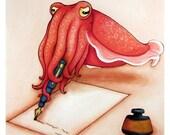 Dear Cuttlefish Art Print - 8x10