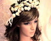 Romantic Autumn Winter Wedding Cream White Floral Snowflakes Crown, Bridal flowers Headpiece, Party Hair Fascinator,'Love Paradise'