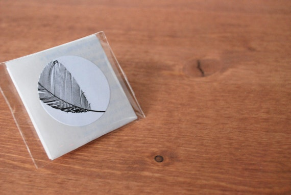 white envelope seals set of five: feather