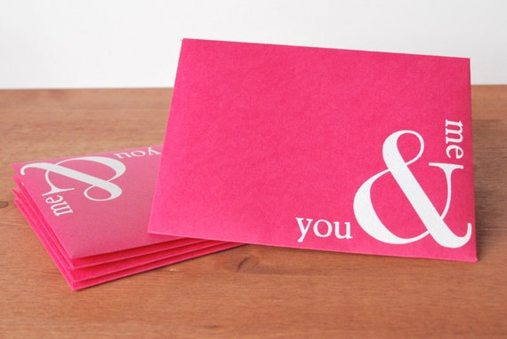 pink envelopes set of five: you & me ampersand