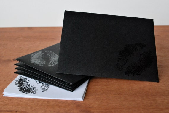 black stationery set: kiss mark envelopes and writing paper