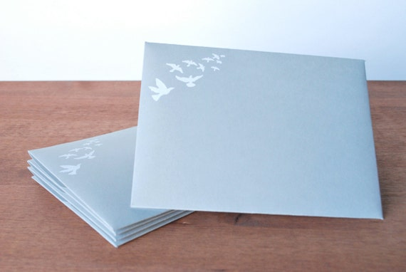 grey envelopes set of five: flying birds