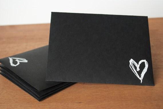 black envelopes set of five: sketched heart