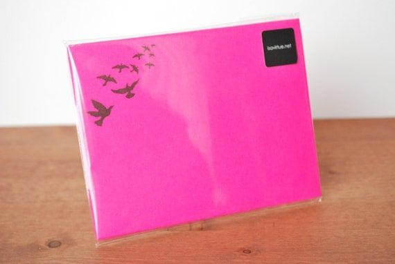 pink writing paper set of ten: flying birds