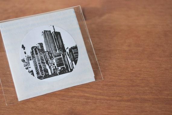 white envelope seals set of five: cityline
