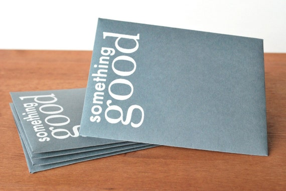 grey envelopes set of five: something good lg text