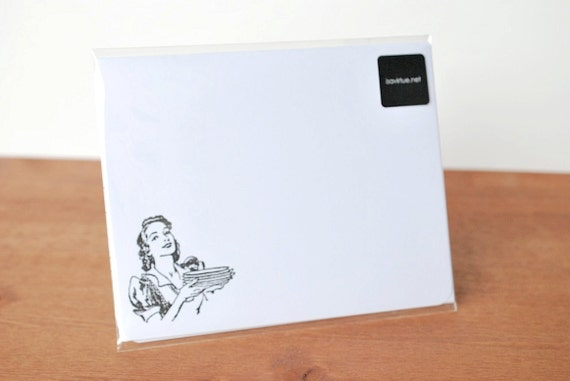white writing paper set of five: housewife with plates
