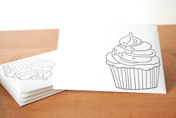 white envelopes set of five: black cupcake