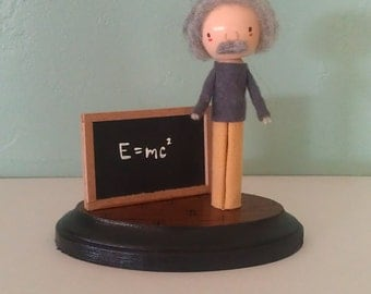 Albert Einstein Clothespin Doll - MADE TO ORDER