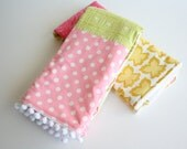 Kitchen Hand Towel, Set of 2, Tea Towels Amy Butler, Butterfly Maize, Polka Dots, Terry Cloth