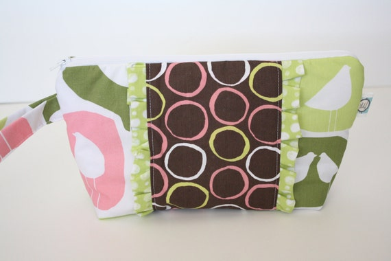 CLEARANCE Organic Diaper Clutch - Wristlet, Chicks, Cirlces, Polka Dots and Ruffles