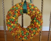 Fun fabric bobble wreath or table centerpiece vintage handmade
