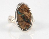 Sterling Silver Ring with Australian Boulder Opal - Free Domestic Shipping to US