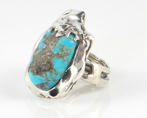 Sterling Silver Ring with Blue Turquoise - Free Domestic Shipping to US