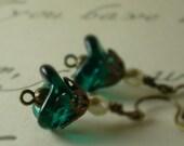 Teal Glass Flower, Brass Filigree Earrings - Cerulean