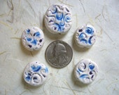 Peacock Eyes Flat Round Ceramic Beads (5)