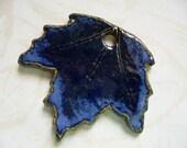 Night Time Blues Ceramic Maple Leaf Pendant