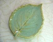 Creamy Aqua Mint Ceramic Leaf Spoon Rest