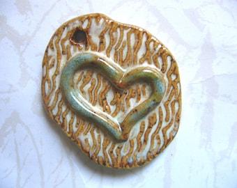 Rustic Heart Ceramic Pendant